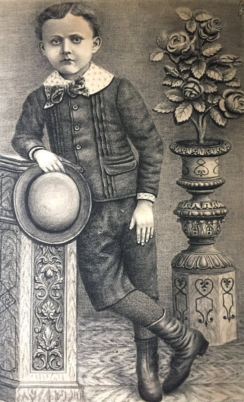 Portrait Boy American Victorian drawing antique