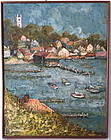 Impressionist Oil painting New England harbor A. Bonine