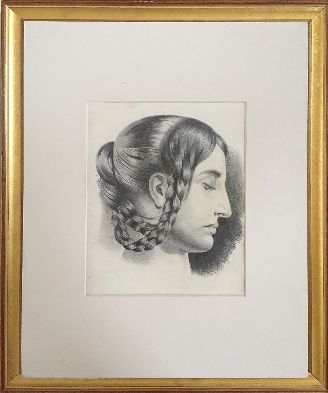 French Master drawing Woman with Braids 1847