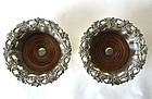 Antique Sheffield Silver Wine Coasters Pair Grape Motif