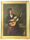 Woman Playing Guitar 19th century oil painting