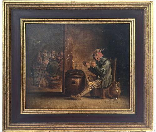 Dutch old master Tavern Scene after David Teniers