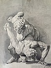 Dutch Old Master Drawing Watercolor Ink Wrestlers Langelaan