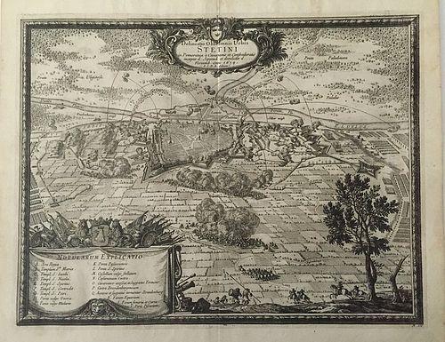 Antique Map Delineatio Obsidionis Urbis Stetini in Pomerania