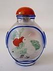 Chinese Peking Glass Snuff Bottle Interior painted Rabbit Stork