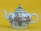 Chinese Export Famille Verte Mandrin Tea Pot
