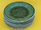 English Majolica Green  Leaf and Vine Plates