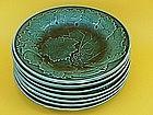 English Majolica Green  Leaf and Vine Plates