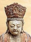 Buddha Kwan Yin Carved Wood polychrome  China c.1840