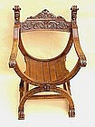 Antique Italian Carved Walnut Savarnarola Arm Chair