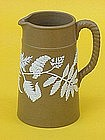 Doulton Lambeth type stoneware pitcher fern  appliqué