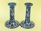 Japanese export Sterling Overlay pottery Candlesticks
