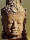 Khmer style stone head of Buddha 19th century