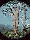 Limoges Porcelain Plaque Nude Girl framed signed F. Lee