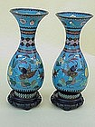 Pair Antique Cloisonne vases c.1910