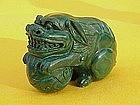 Chinese carved Malachite figure foo dog