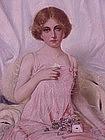 Portrait  Young Girl & Love Letter Oil  A.V. Hugenett