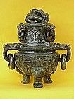 Chinese Spinach Jade carved dragon censer