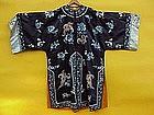 Antique Chinese Silk Embroidered robe forbidden stitch