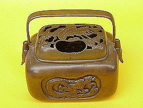 Japanese Bronze Hand  warmer Meiji circa 1900