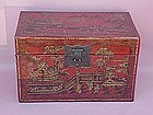 Chinese Chinoiserie lacquer box Temple scenes c.1860