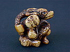 Japanese Ivory Netsuke of Oni & Dragon 1890s