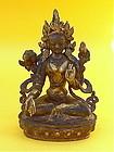 Tibetan Tara Buddha bronze late 19 century