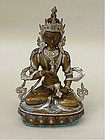 Tibet Tara Buddha Bronze silver inset turquoise