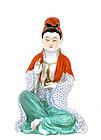 Early 20C Chinese Famille Rose Kwan Quan Yin Buddha