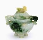 Early 20C Chinese Jadeite Fu Dog Lion Censer