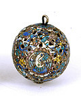 19C Chinese Silver Enamel Ball Bead Pendant