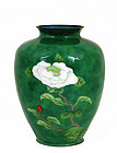 Japanese Wireless Cloisonne Vase with Flower
