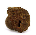 Old Japanese Wood Netsuke Fu Lion Dog Shishi
