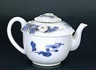 19C Japanese Hirado Blue & White Teapot Flower