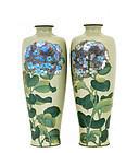 2 Meiji Japanese Ota Cloisonne Vase Flower Signed