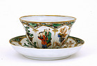 19C Chinese Famille Verte Cup & Saucer Figurine