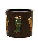 19C Chinese Hardstone Embellished Redwood Brush Pot