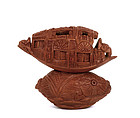 Chinese Seed Pit Carved Miniature Boat w Inscription