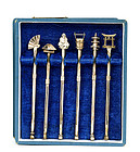 6 Japanese Sterling Silver Cocktail Mixer Stirrers Box