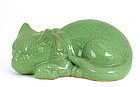 Japanese Kutani Sty Sleeping Cat Apple Green Glaze Mk