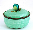 Korean Silver Enamel Box Peach Mk
