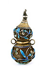 Early 20C Chinese Silver Enamel Gourd Snuff Bottle
