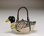 Old Japanese Banko Ware Duck Shape Teapot Mk