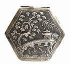 Old Chinese Silver Box Garden Scene Mk