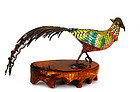 Old Chinese Silver Enamel Bird Pheasant Coral Bead