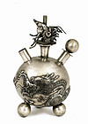 Early 20C Chinese Silver Dragon Perfume Bottle Mk