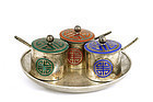 Korean Silver Enamel Salt & Pepper Set Mk