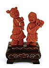 Chinese Red Coral Carved Children Group Figurine
