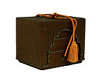 Meiji Japanese Bamboo Woven Box Chest w Makie Lacquer