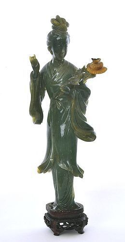 Early 20C Chinese 3 Color Jade Jadeite Court Lady Flower